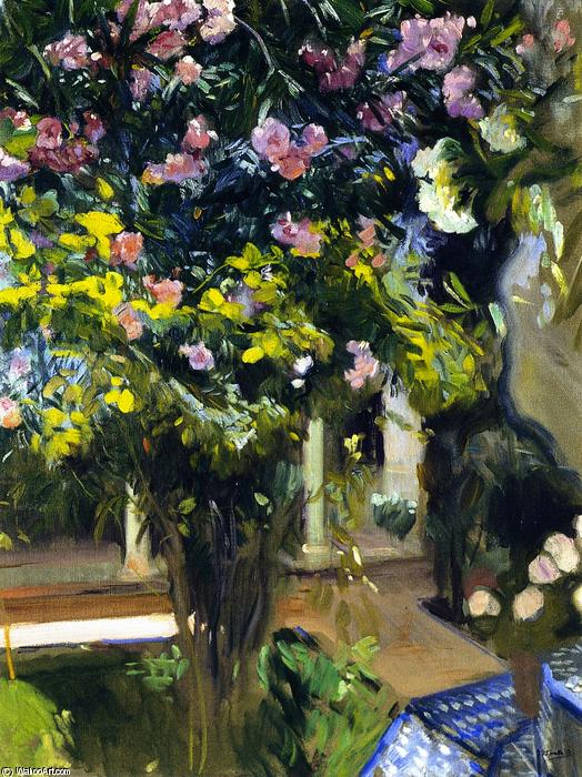 Oleanders in the Patio of the Sorolla House, Oil On Canvas by Joaquin Sorolla Y Bastida (1863-1923, Spain)