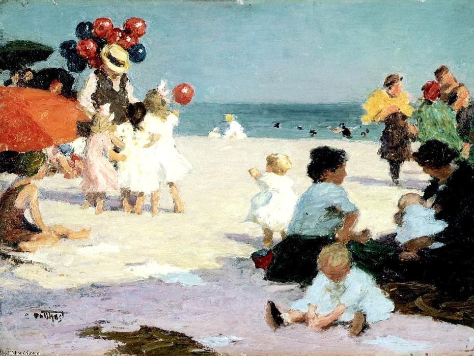 On the Beach by Edward Henry Potthast (1857-1927, United States) | Reproductions Edward Henry Potthast | ArtsDot.com