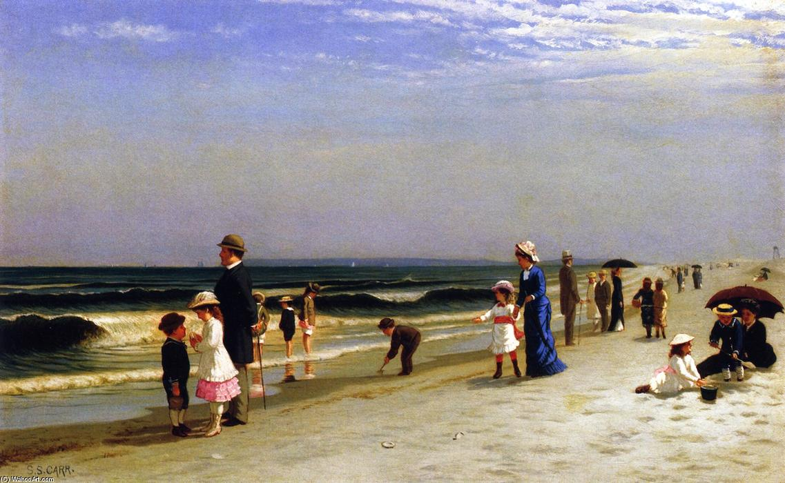 On the Beach at Coney Island, Oil On Canvas by Samuel S Carr (1837-1908, United Kingdom)