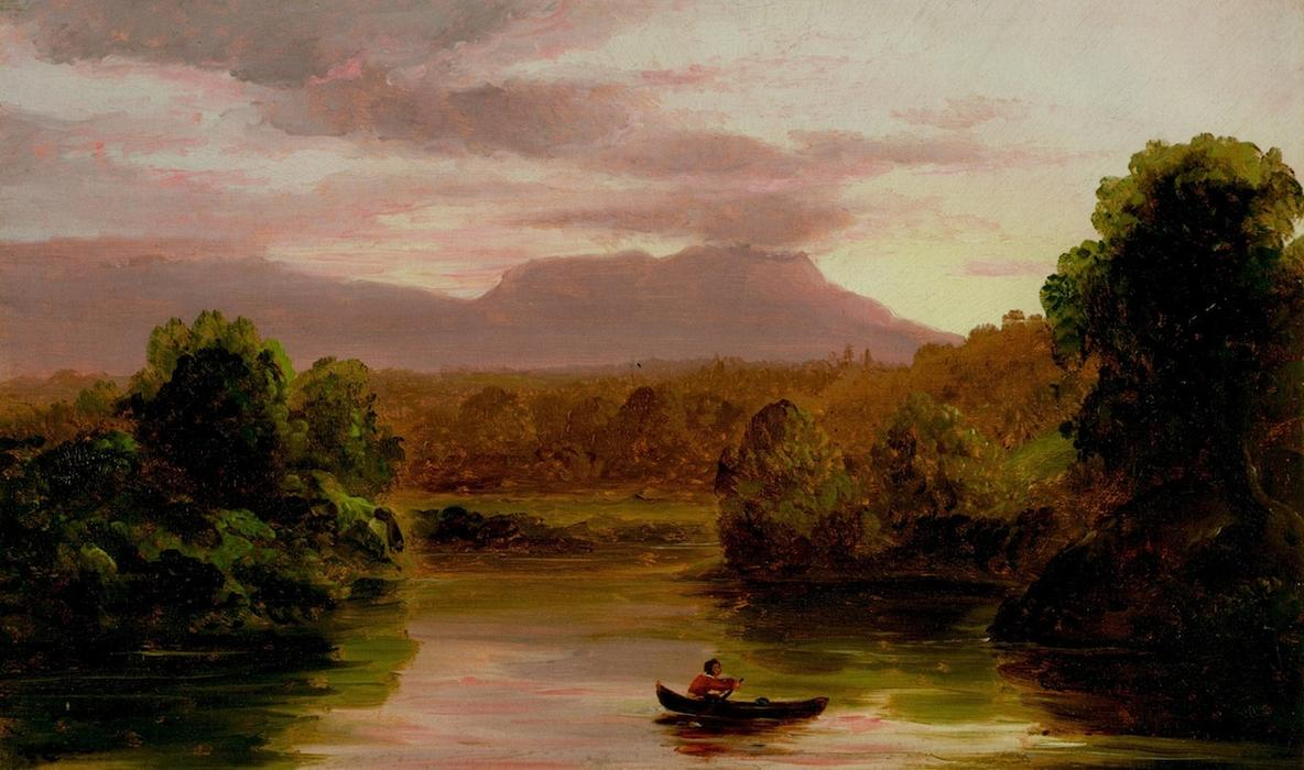 On Catskill Creek, Sunset, Oil On Panel by Thomas Cole (1801-1848, United Kingdom)