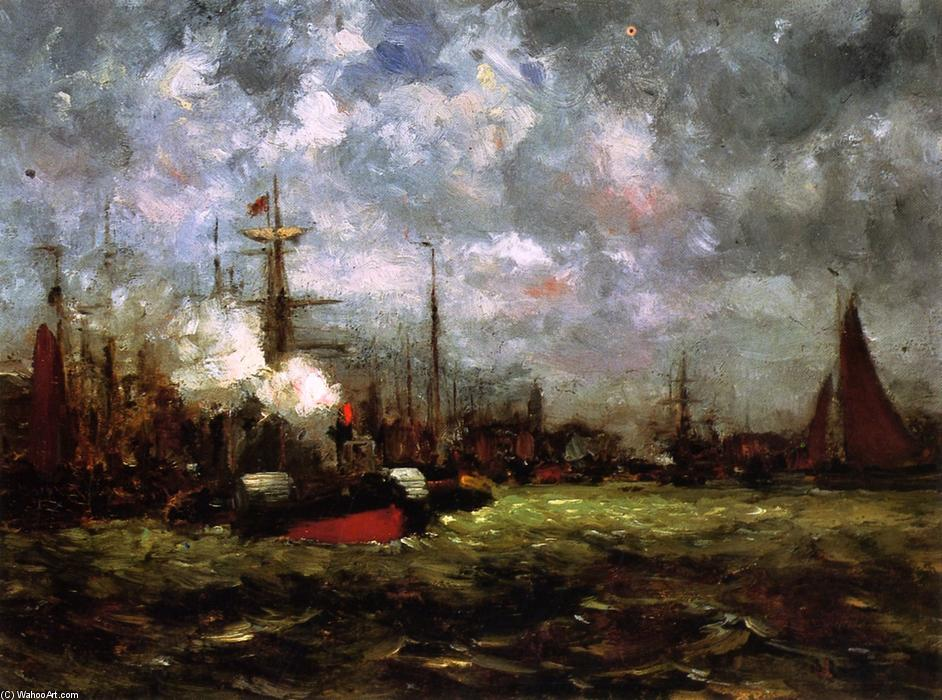 On the Maas, 1880 by Dwight William Tryon (1849-1925, United States) | Oil Painting | ArtsDot.com