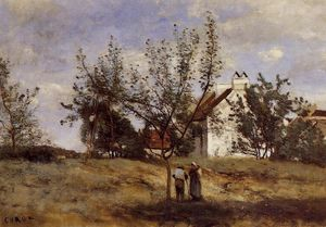 Jean Baptiste Camille Corot - An Orchard at Harvest Time