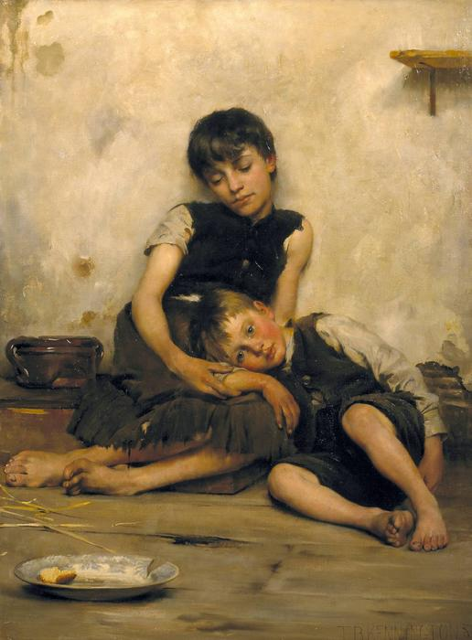 Orphans, Oil On Canvas by Thomas Benjamin Kennington (1856-1916, United Kingdom)