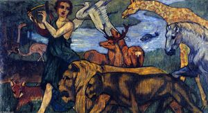 Franz Marc - Orpheus with Animals, Design for a Tapestry