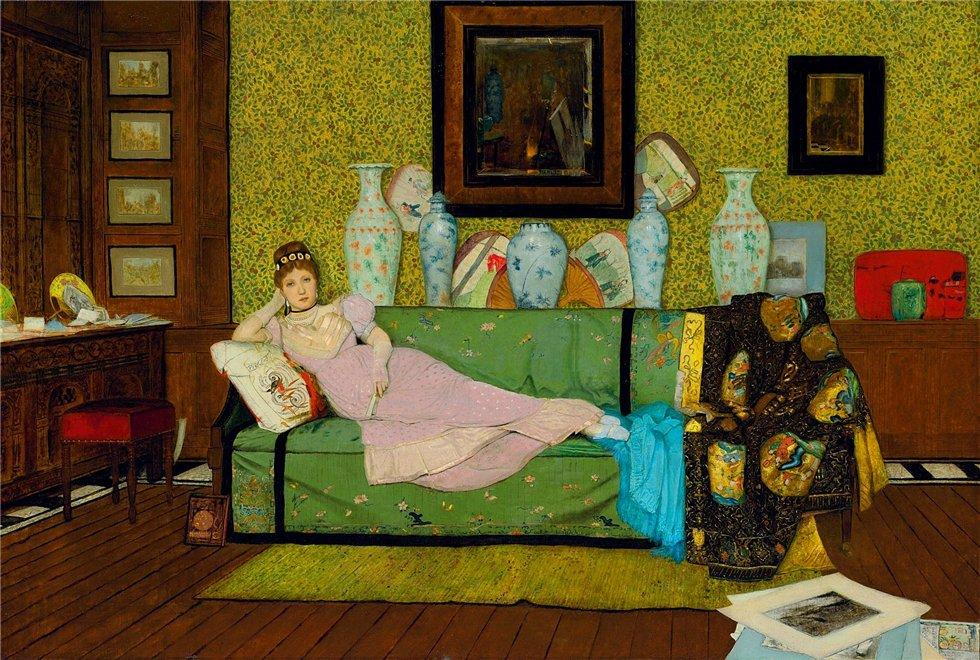 Paintings In the Artists House, Oil On Canvas by John Atkinson Grimshaw (1836-1893, United Kingdom)