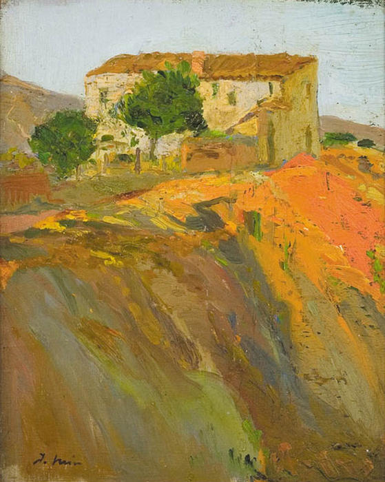 Paisaje, Oil On Canvas by Joaquin Mir Trinxet (1873-1940, Spain)