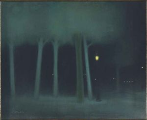 Jozsef Rippl Ronai - A park at night