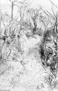 Adolph Menzel - Path Lined with Bare Hedges