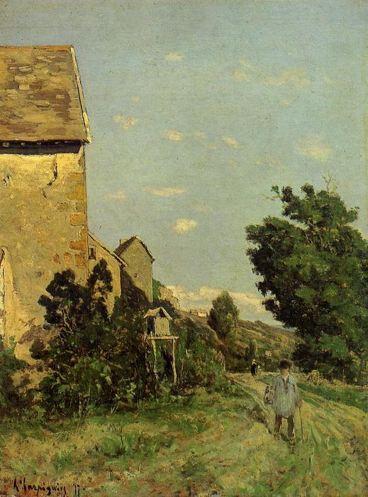 Path through a Normandy Village, Oil On Panel by Henri-Joseph Harpignies (1819-1916, France)