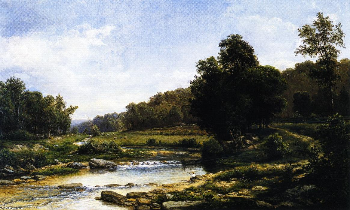 Pennsylvania Landscape, Oil On Canvas by George Hetzel (1826-1899, France)