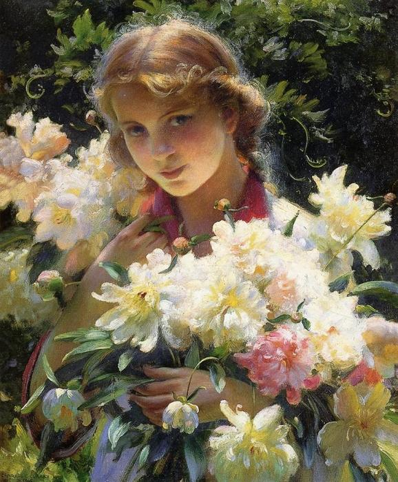 Order Museum Quality Reproductions : Peonies, 1915 by Charles Courtney Curran (1861-1942, United States) | ArtsDot.com