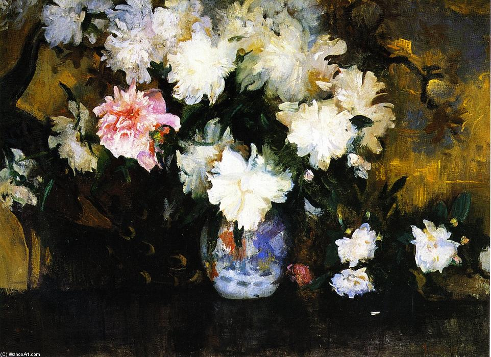 Peonies, Oil On Canvas by Edmund Charles Tarbell (1862-1938, United States)