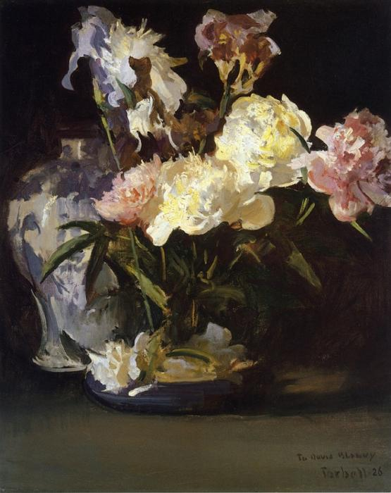 Peonies and Irises, Oil On Canvas by Edmund Charles Tarbell (1862-1938, United States)