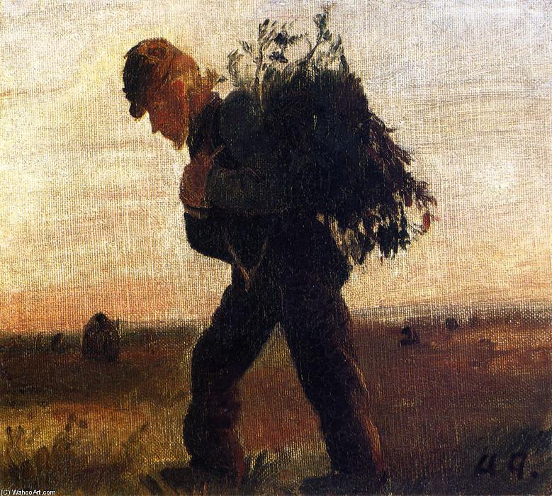 Per Bollerhus Walking with His Bundle of Sticks, 1878 by Anna Kirstine Ancher (1859-1935, Denmark) | Museum Quality Reproductions | ArtsDot.com