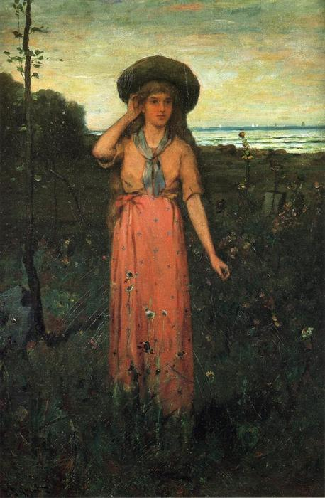 Picking Flowers by the Sea, Oil On Canvas by Abbott Fuller Graves (1859-1936, United States)