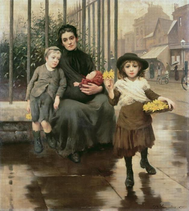 The Pinch of poverty, 1891 by Thomas Benjamin Kennington (1856-1916, United Kingdom)