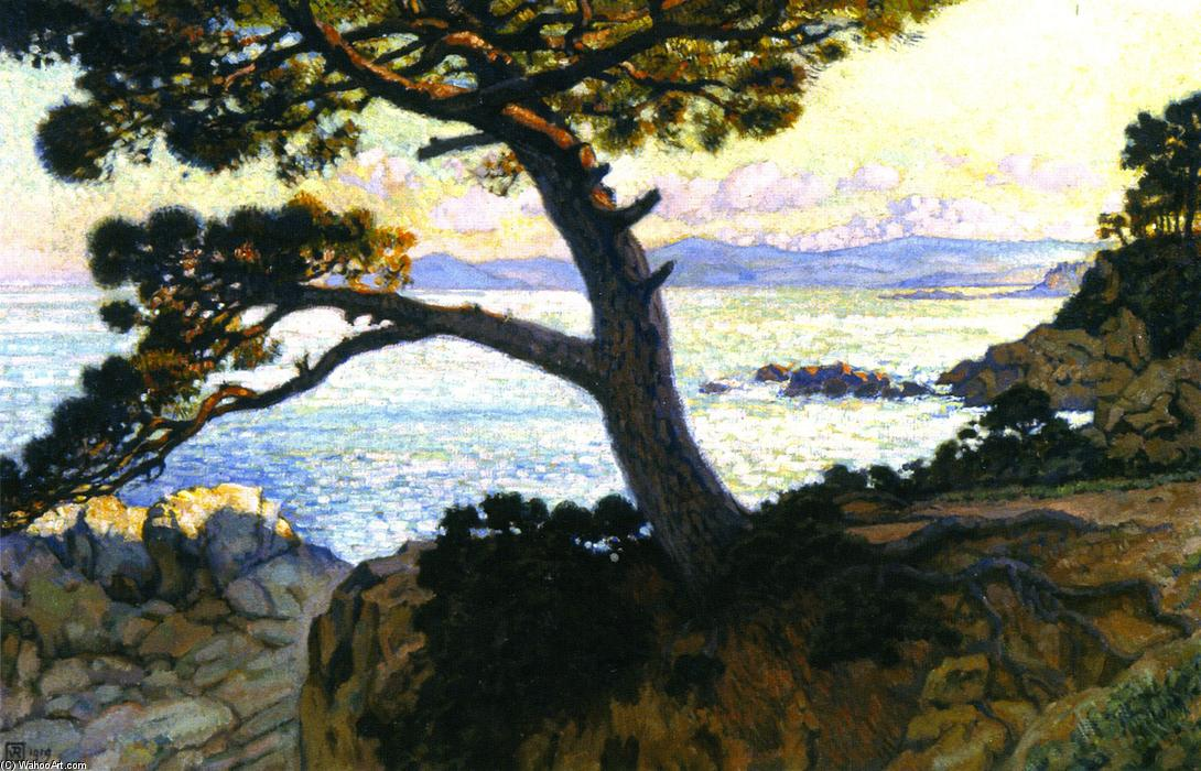 Pine at La Fossette, Sunset, Oil On Canvas by Theo Van Rysselberghe (1862-1926, Belgium)