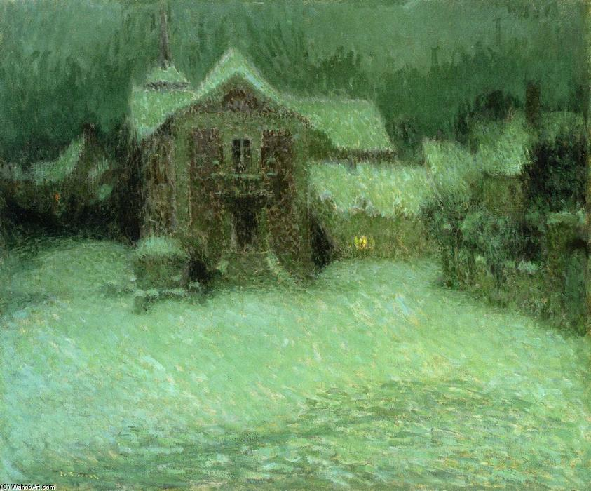 Plaza under Snow, Gerberoy, Oil On Canvas by Henri Eugène Augustin Le Sidaner (1862-1939, Mauritius)