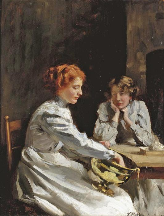Polishing the Brass by Thomas Benjamin Kennington (1856-1916, United Kingdom)