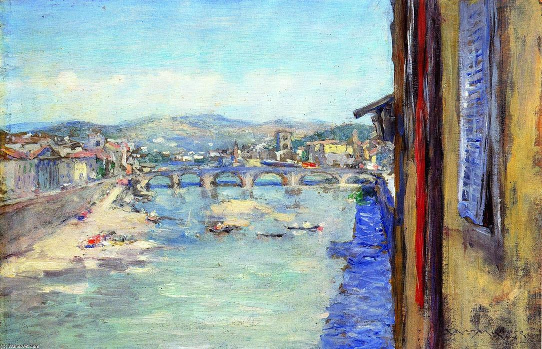 Ponte alle Grazie, The Arno - Florence, Oil On Panel by William Merritt Chase (1849-1916, United States)