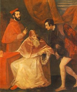 Tiziano Vecellio (Titian) - Pope Paul III and his Cousins Alessandro and Ottavio Farnese
