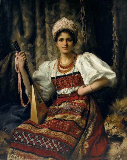 Portrait of Anne in Russian costume holding a balalaika, 1900 by Thomas Benjamin Kennington (1856-1916, United Kingdom)
