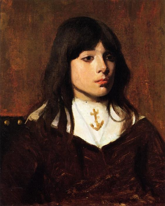 Portrait of a Boy, Oil On Canvas by Frank Duveneck (1848-1919, United States)