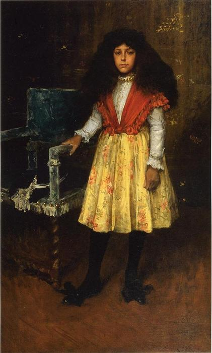 Portrait of Erla Howell (also known as Little Miss H.), Oil On Canvas by William Merritt Chase (1849-1916, United States)