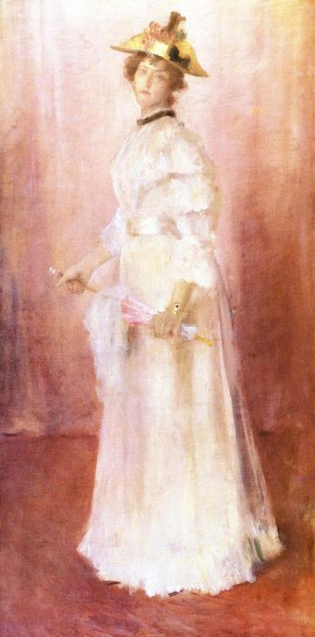Portrait of a Lady against Pink Ground (also known as Miss Virginia Gerson), 1886 by William Merritt Chase (1849-1916, United States) | ArtsDot.com