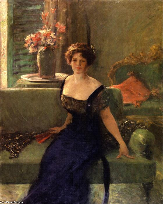 Portrait of a Lady in Black (also known as Annie Traquair Lang), Oil On Canvas by William Merritt Chase (1849-1916, United States)