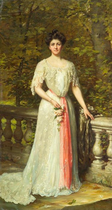 A portrait of a lady in a white dress with a pink sash by a balustrade by Thomas Benjamin Kennington (1856-1916, United Kingdom)