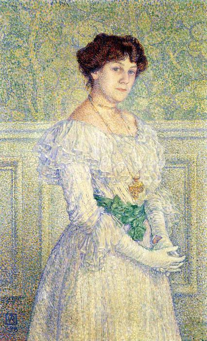 Portrait of Laure Fle, Oil On Canvas by Theo Van Rysselberghe (1862-1926, Belgium)