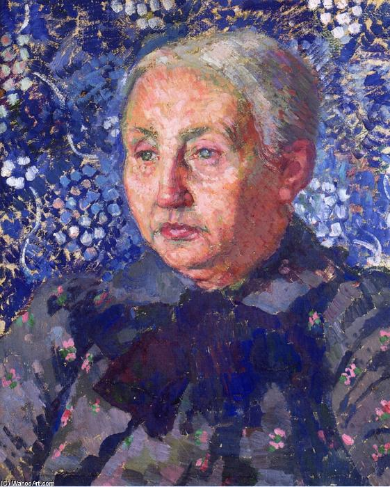 Portrait of Madame Monnon, the Artist's Mother-in-Law, Oil On Panel by Theo Van Rysselberghe (1862-1926, Belgium)
