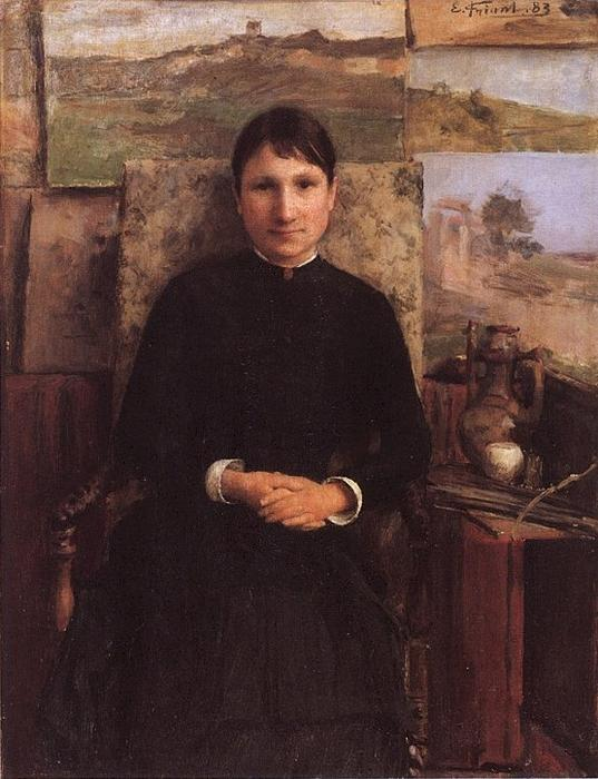 Portrait of Madame Petitjean, Oil On Panel by Émile Friant (1863-1932, France)