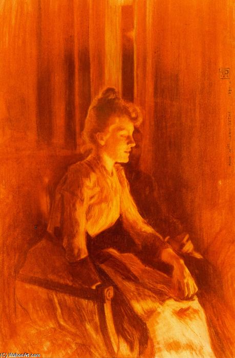 Portrait of Maria Sèthe, Drawing by Theo Van Rysselberghe (1862-1926, Belgium)