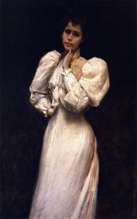 Portrait of Miss L. (also known as Portrait of Miss Lawrence), Oil On Canvas by William Merritt Chase (1849-1916, United States)