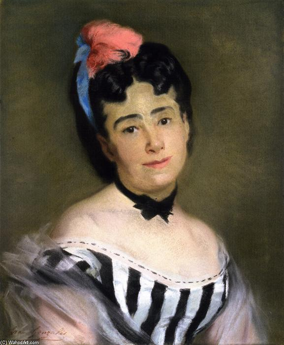 Portrait of Mme. E. G., Drawing by Eva Gonzales (1849-1883, France)