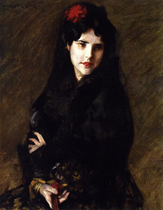 Portrait of Mrs. C (also known as The Artist's Wife), Oil On Canvas by William Merritt Chase (1849-1916, United States)
