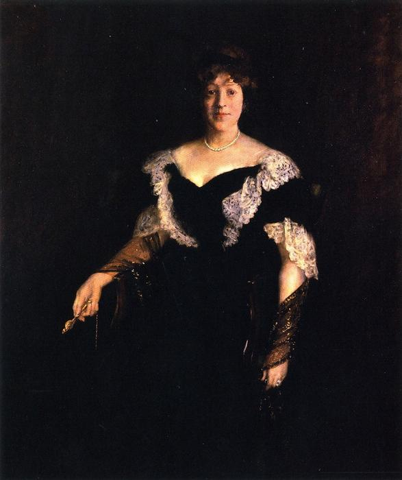 Portrait of Mrs. H. (also known as Mrs. H, Lady in Black), Oil On Canvas by William Merritt Chase (1849-1916, United States)