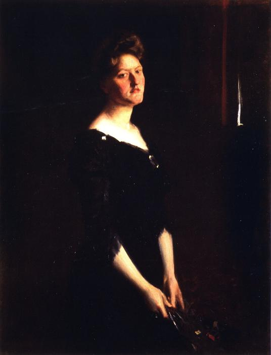 Portrait of Mrs. Hale, Oil On Canvas by William Merritt Chase (1849-1916, United States)