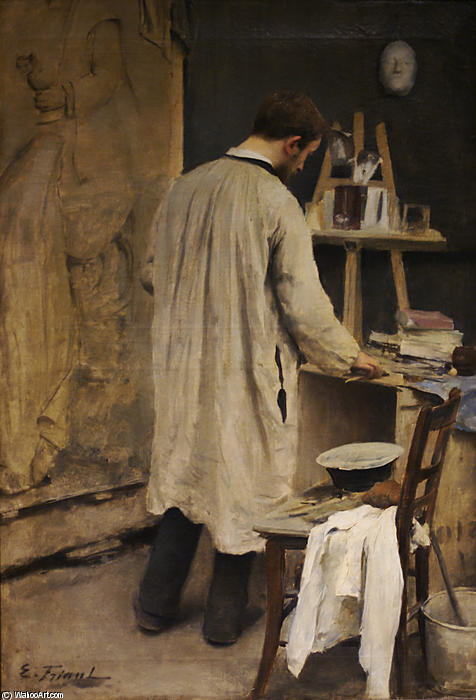 Portrait of Sculptor Ernest Bussière (also known as Interior of the Studio), 1884 by Émile Friant (1863-1932, France) | ArtsDot.com