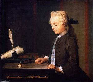 Jean-Baptiste Simeon Chardin - Portrait of the Son of M. Godefroy, Jeweller, Watching a Top Spin (also known as Child with Top or Portrait of Autuste-Gabriel Godefroy)