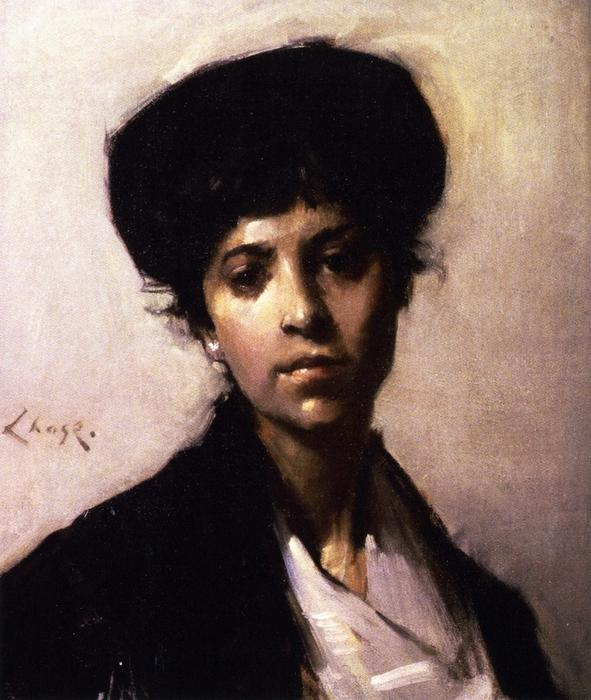 Portrait of Woman, Oil On Canvas by William Merritt Chase (1849-1916, United States)