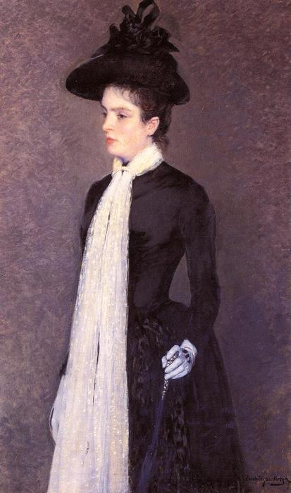 Portrait of a Woman in Black, Oil On Canvas by Theo Van Rysselberghe (1862-1926, Belgium)