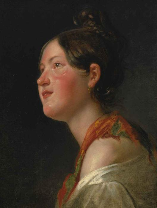 Portrait of a young girl in profile by Friedrich Ritter Von Amerling (1803-1887) | Art Reproduction | ArtsDot.com
