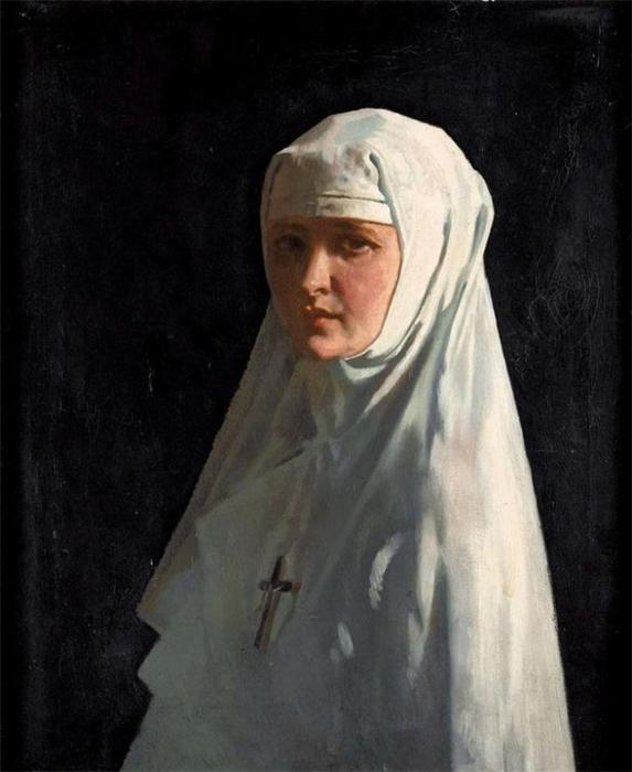 Portrait Of Yvonne Aubicq As A Nun, Oil On Canvas by William Newenham Montague Orpen (1878-1931, Ireland)