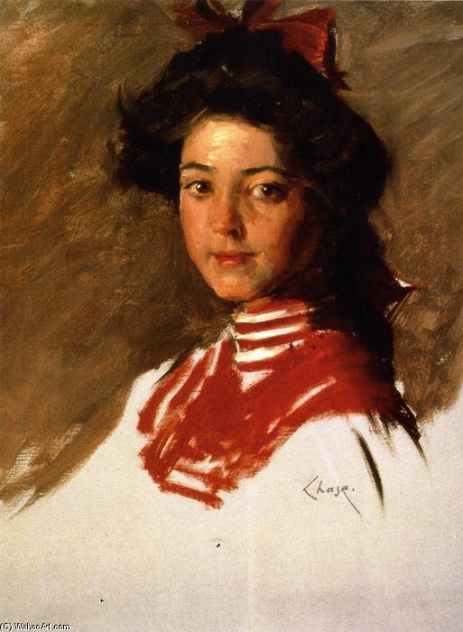 Portrait Sketch: Girl in a Middy Blouse, Oil On Canvas by William Merritt Chase (1849-1916, United States)