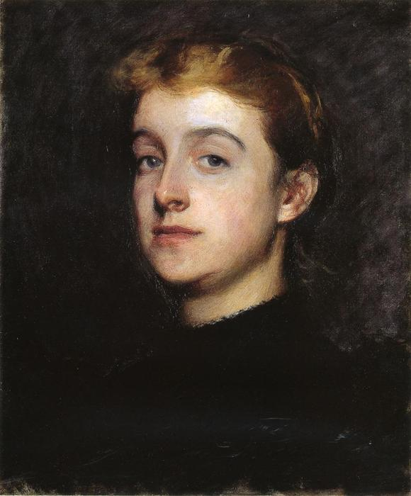 Portrait Sketch of Eleanor Hardy Bunker, Oil On Canvas by Dennis Miller Bunker (1861-1890, United States)