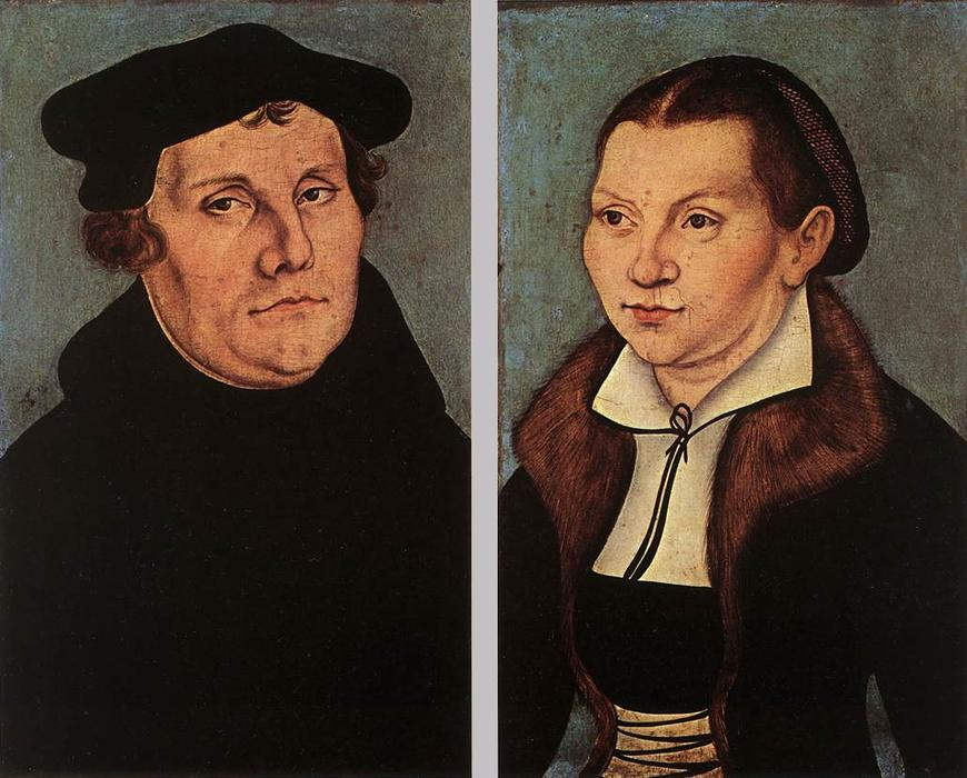 Portraits of Martin Luther and Catherine Bore, Oil On Panel by Lucas Cranach The Elder (1472-1553, Germany)