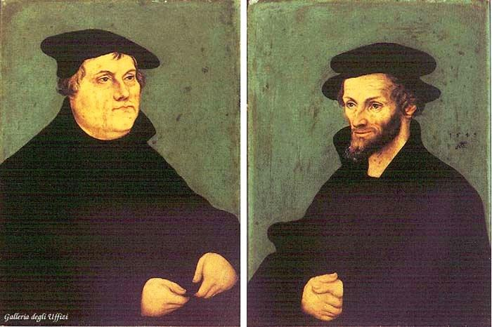 Portraits of Martin Luther and Philipp Melanchthon, Oil On Panel by Lucas Cranach The Elder (1472-1553, Germany)
